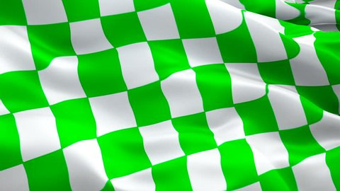 NASCAR green and white checkered flag for stages video waving in wind. Realistic NASCAR Flag background. Start Race Checkered Flag Looping Closeup 1080p HD 1920X1080 footage.Checkered Green white. USA Jan 2019