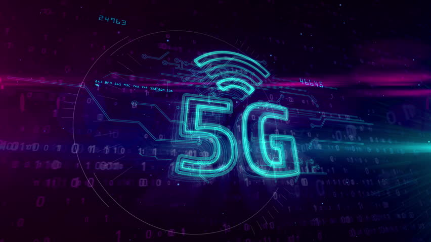 5G - 5th generation of mobile communication. High speed wireless cellular network for phone and IOT. 3D hologram symbol on dynamic digital background. | Shutterstock HD Video #1026192296