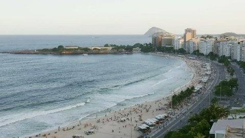 Time lapse of Copacabana beach, Rio de Janeiro, Brazil viewed from above - 4K