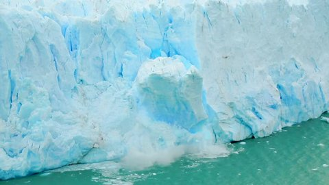 The Perito Moreno glacier in Los Glaciares National Park collapses into a large lake.