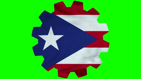 Puerto Rico Gear Flag Loop - Realistic 3D Illustration 4K - 60 fps flag of the Puerto Rico - waving in the wind. Seamless loop with highly detailed fabric texture. Loop ready in 4k resolution