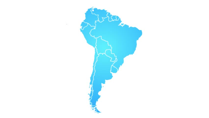 South America Map Showing Up Intro By States/ 4k animated south american map intro background with states appearing and fading one by one and camera movement