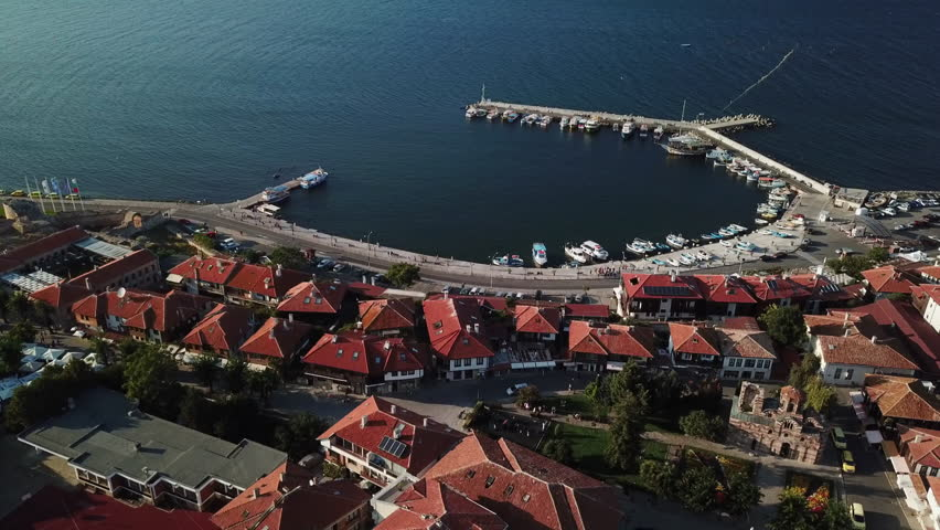 Top view Aerial view of the tile roofs of old Nessebar and marine, ancient city on the Black Sea coast of Bulgaria, UNESCO World Heritage