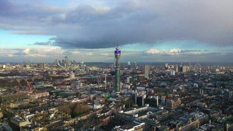 London / United Kingdom - March 20 2019: Aerial drone video of British Telecoms Tower in the heart of  London