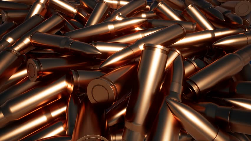 Heap of metal bullets 4k | Shutterstock HD Video #1026447326