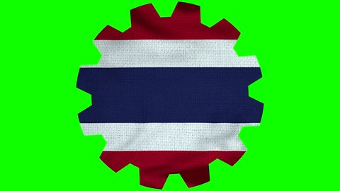 Thailand  Gear Flag Loop - Realistic 3D Illustration 4K - 60 fps flag of the Thailand  - waving in the wind. Seamless loop with highly detailed fabric texture. Loop ready in 4k resolution