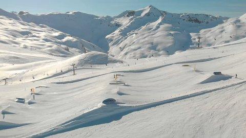 LIVIGNO, Feb 2019 - Skiers skiing in Livigno ski Alpine resort, Livigno, Italy, Europe.