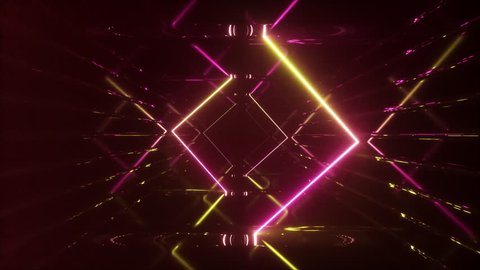 Abstract flying in futuristic corridor, seamless loop 4k background, fluorescent ultraviolet light, mirror lines laser neon lines, geometric endless tunnel, yellow pink spectrum, 3d render