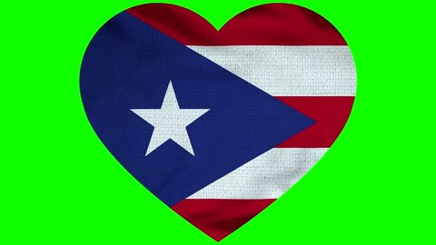 Puerto Rico Heart Flag Loop - Realistic 3D Illustration 4K - 60 fps flag of the Puerto Rico - waving in the wind. Seamless loop with highly detailed fabric texture. Loop ready in 4k resolution
