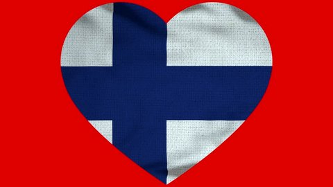 Finland Heart Flag Loop - Realistic 3D Illustration 4K - 60 fps flag of the Finland - waving in the wind. Seamless loop with highly detailed fabric texture. Loop ready in 4k resolution