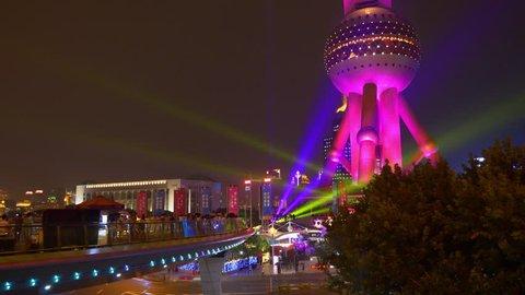 SHANGHAI, CHINA - SEPTEMBER 20 2017: night illuminated shanghai downtown traffic square famous tower panorama 4k circa september 20 2017 shanghai, china.