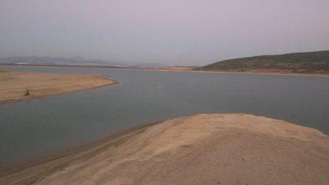 Andalusia. Lake in Bornos, Cadiz. Spain. 4k Drone Video