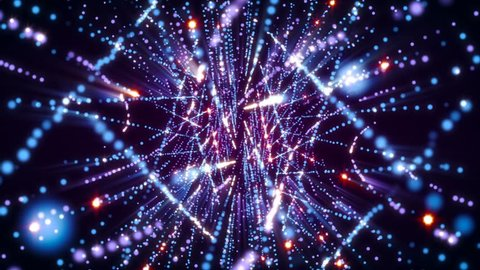4K Abstract motion background animation shining particles stars sparks  forming in space twisted lines and strings pattern with light rays and projections seamless loop