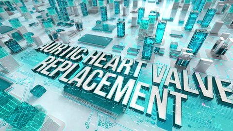 Aortic Heart Valve Replacement with medical digital technology concept