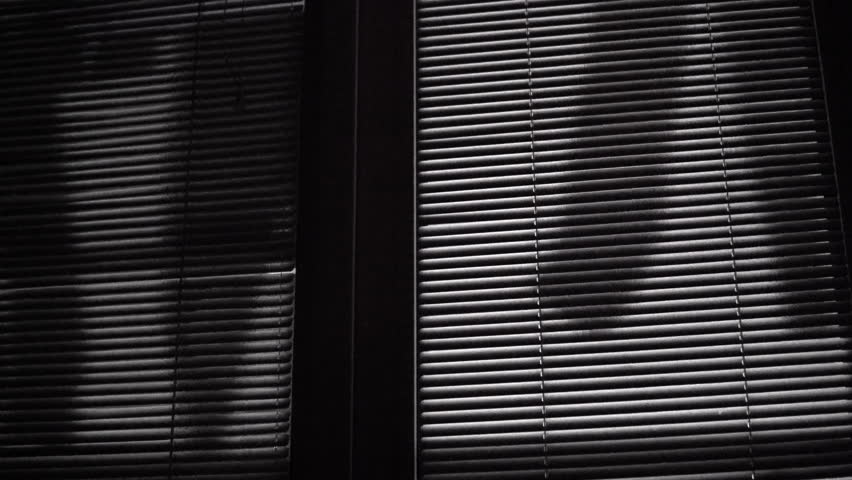 Horror scene of moving laundry shades on venetian blinds at night | Shutterstock HD Video #1026722876