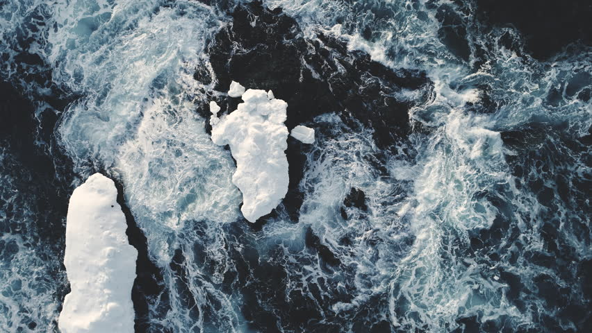Majestic Antarctica Ocean Water Surf Aerial View. Polar Open Arctic Rough Abyss Seascape. Epic Harsh Antarctic Climate North Iceberg Overview Drone Top Down Footage Shot Footage 4K (UHD) | Shutterstock HD Video #1026725396