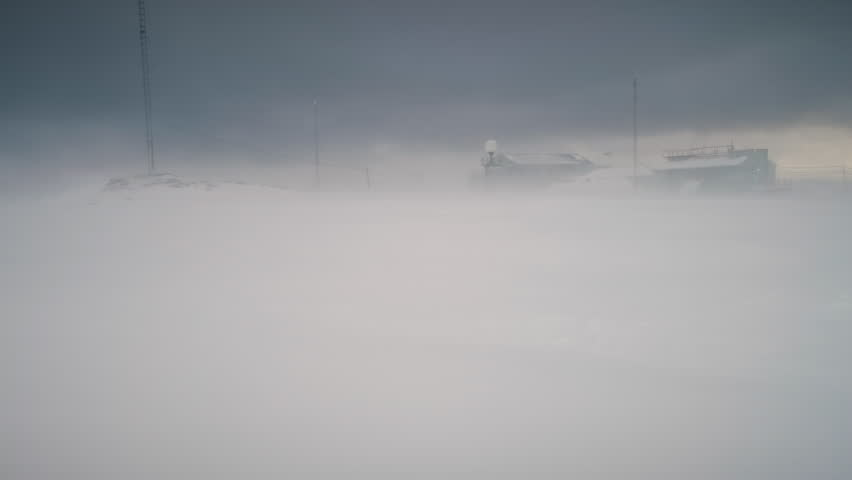 Antarctic Blizzard North Polar Station Camera View. Harsh Antarctica Climate Environment Vernadsky Base Overview. Snow Arctic Continent Landscape Nature Scene Concept Shot Footage 4K (UHD) | Shutterstock HD Video #1026731396