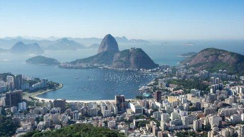 Timelapse view of Sugarloaf Mountain and Rio de Janeiro cityscape, Rio de Janeiro, Brazil.