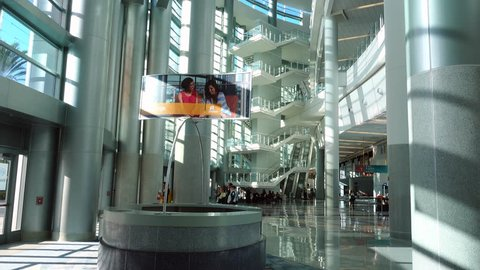 Anaheim, CA / USA - March 30, 2019: Main lobby of Anaheim Convention Center with concierge sign