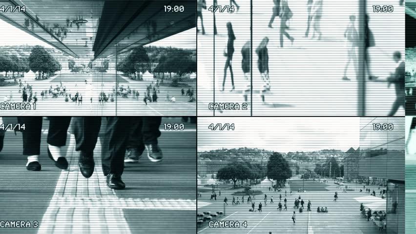 Surveillance Security Camera Monitor View CCTV Split-Screen Background | Shutterstock HD Video #1026818366