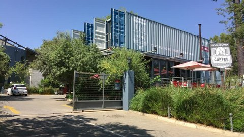 Johannesburg, South Africa, 27th March - 2019: Exterior of coffee shop made from shipping containers