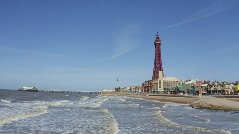 Blackpool, Lancashire - 25th March 2019  Stunning aerial view of Blackpool Tower  from the sea of the award winning Blackpool beach, A very popular seaside tourist location in England , United Kingdom