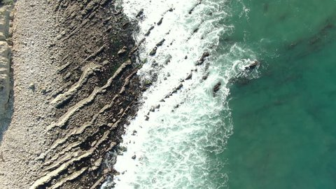 Aerial Shot of California Coastline Birds Eye View Rocky Shore