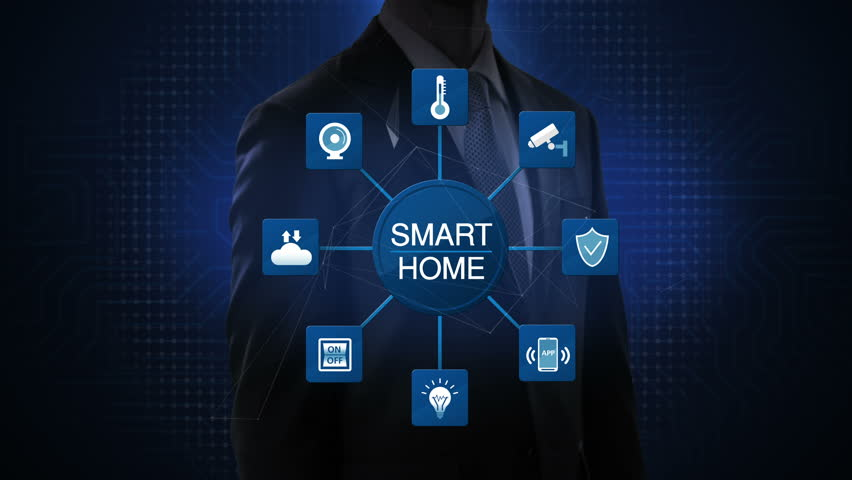 Businessman touching smart home icon,  connected various internet of things home appliances icon. 4K animation. | Shutterstock HD Video #1026907196