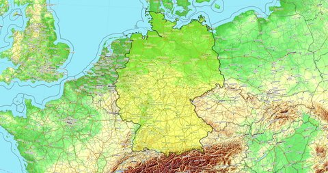 Topographical Map Of Germany.1000 Topographic Map Germany Stock Video Clips And Footage Royalty