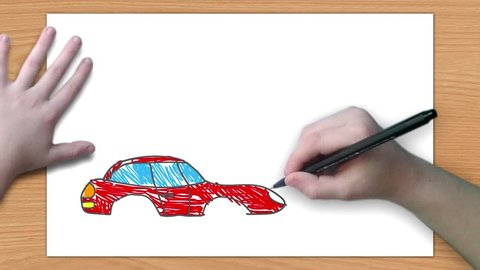 A boy draws a car Children's hand draws a car on a country road. The picture comes to life. Children's creativity. Animation.