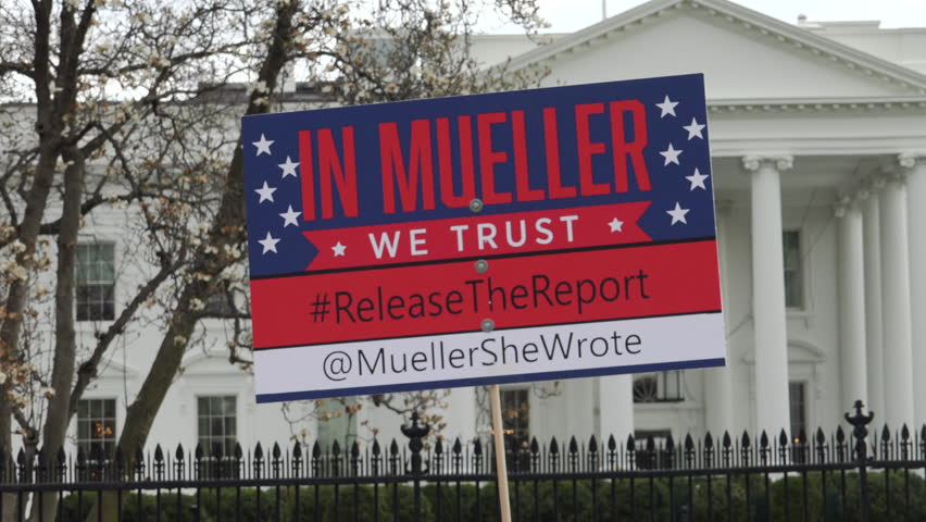 WASHINGTON, DC – APR. 4, 2019: Demonstrators at White House protesting failure of Attorney General Barr to release Robert Mueller's full, unedited report. Part of National Day of Action.