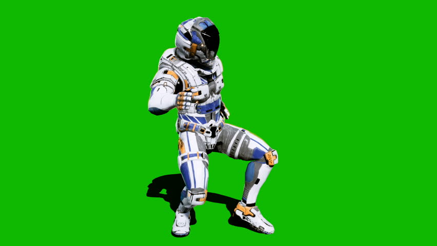 Astronaut-soldier of the future, dancing in front of a green screen. Looped realistic animation. | Shutterstock HD Video #1027024616