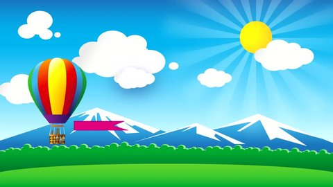 Balloon with a developing banner flies against the background of clouds, distant mountains and a rainbow. Flat animation.