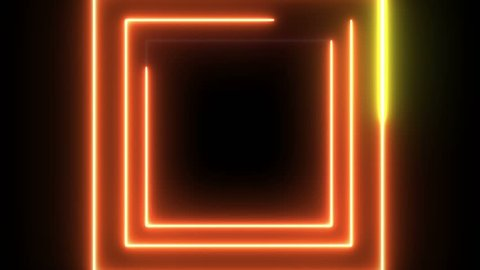 Laser neon square background.  Loop Abstract futuristic Square tunnel with moving light line.
