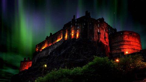 The Aurora Borealis or Northern lights over Edinburgh Castle in Scotland.