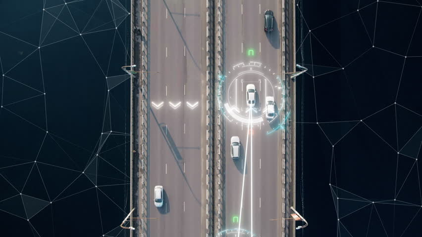 4k aerial view of driverless or autonomous car. Traffic passing by a highway. Plate number, speed limit and ID number displaying. Future transportation. Artificial intelligence. Self driving. | Shutterstock HD Video #1027187486