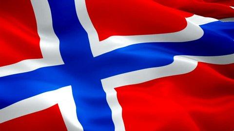 Norwegian flag waving in wind video footage Full HD. Realistic Norwegian Flag background. Norway Flag Looping Closeup 1080p Full HD 1920X1080 footage. Norway EU European country flags Full HD