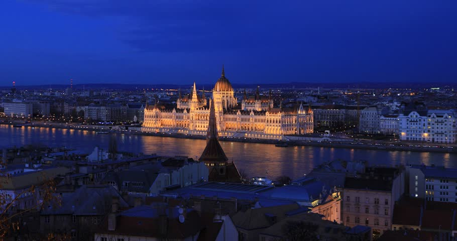 Aerial view of Parliament buildings, Danube river in old city Budapest | Shutterstock HD Video #1027213316
