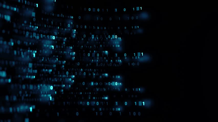 Blue 3d abstract render binary background. Zero and one code digits lines. Rendered with depth of field. Loopable animation. | Shutterstock HD Video #1027230926