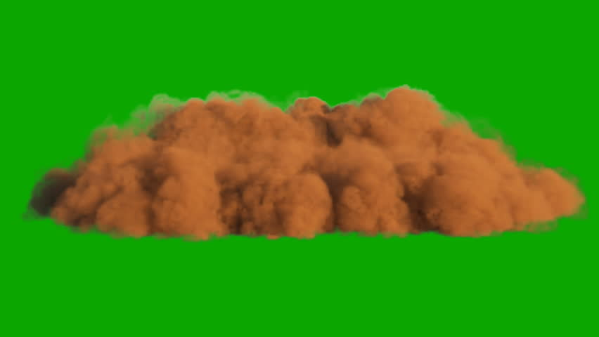 Sandstorm in the desert in front of a green screen.