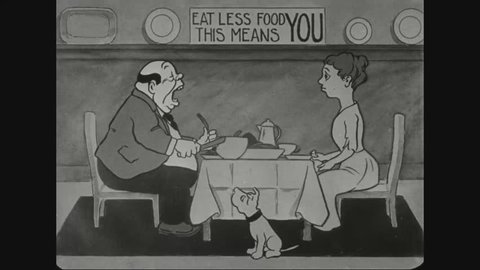 CIRCA 1910s - An animated propaganda piece shows a man overeating, despite Uncle Sam's pleas to save food for soldiers. He has nightmares as a result.