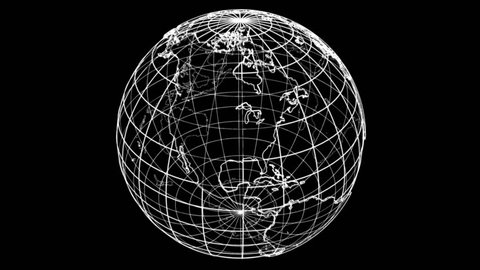 Outline Earth concept. Wire-frame style. The layers of visible and invisible lines. 3D illustration video