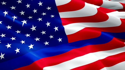 American police waving flag. National 3d Thin Blue Line flag waving. Sign of American police seamless loop animation. Thin Blue Line flag HD resolution Background. American police flag Closeup 1080p