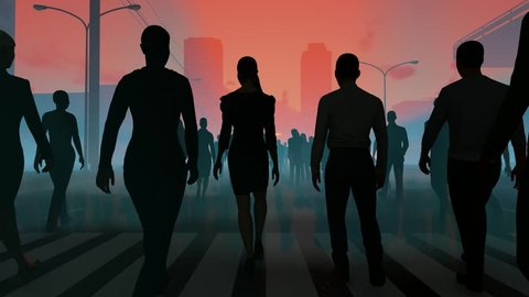 People go to the sun on the road in the fog. The crowd is moving into distance.  On the background of city. Throng goes in one direction. Mysterious world. Way to paradise. 3D rendering