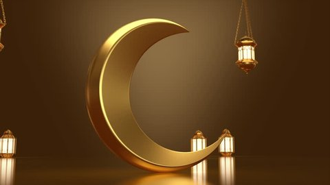 Ramadan Water Splash is a stock motion graphics pack that shows 2 clips of metallic crescent moon in a lamp-lit room. Water is poured over the moon and wets the floor