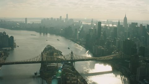 Aerial view of the Queensboro Bridge, Manhattan, New York City, during the day in winter. Shot on 4k RED camera.