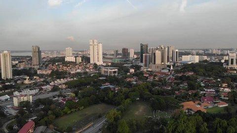 Malaysia,Johor - April 10 2019 : Johor Bahru City, Ariel Panorama view