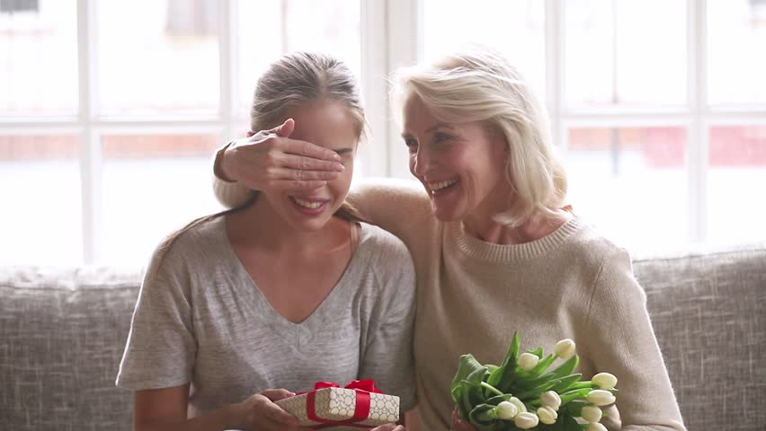 Happy Grown Adult Daughter Receive Stock Footage Video 100 Royalty Free 1027488536