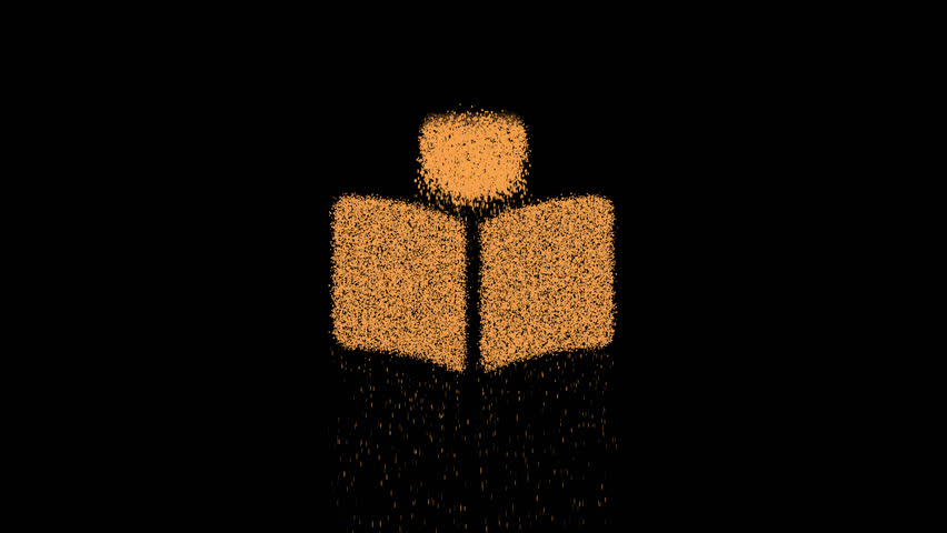 Symbol book reader appears from crumbling sand. Then crumbles down. Alpha channel Premultiplied - Matted with color black | Shutterstock HD Video #1027490966