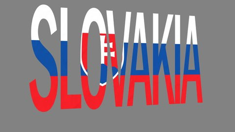 """The animated letters of the word """"Slovakia"""" in national colors are fluttering like a flag in the wind. This clip has an additional alpha matte that allows to get the background transparent."""